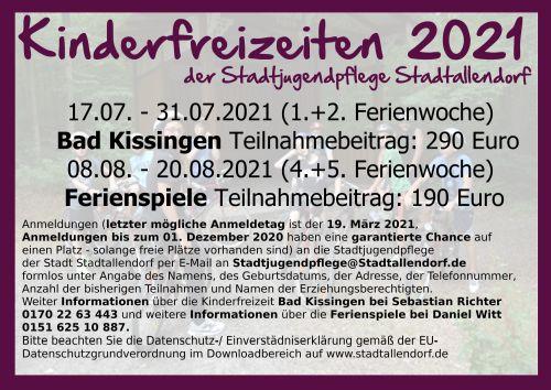 Kinderfreizeiten 2021
